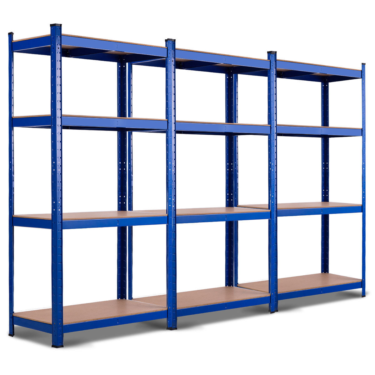 "GHP 31.5""x16""x63"" Blue Iron & Wood Space-Saving Adjustable Storage Rack w 4 Shelves"