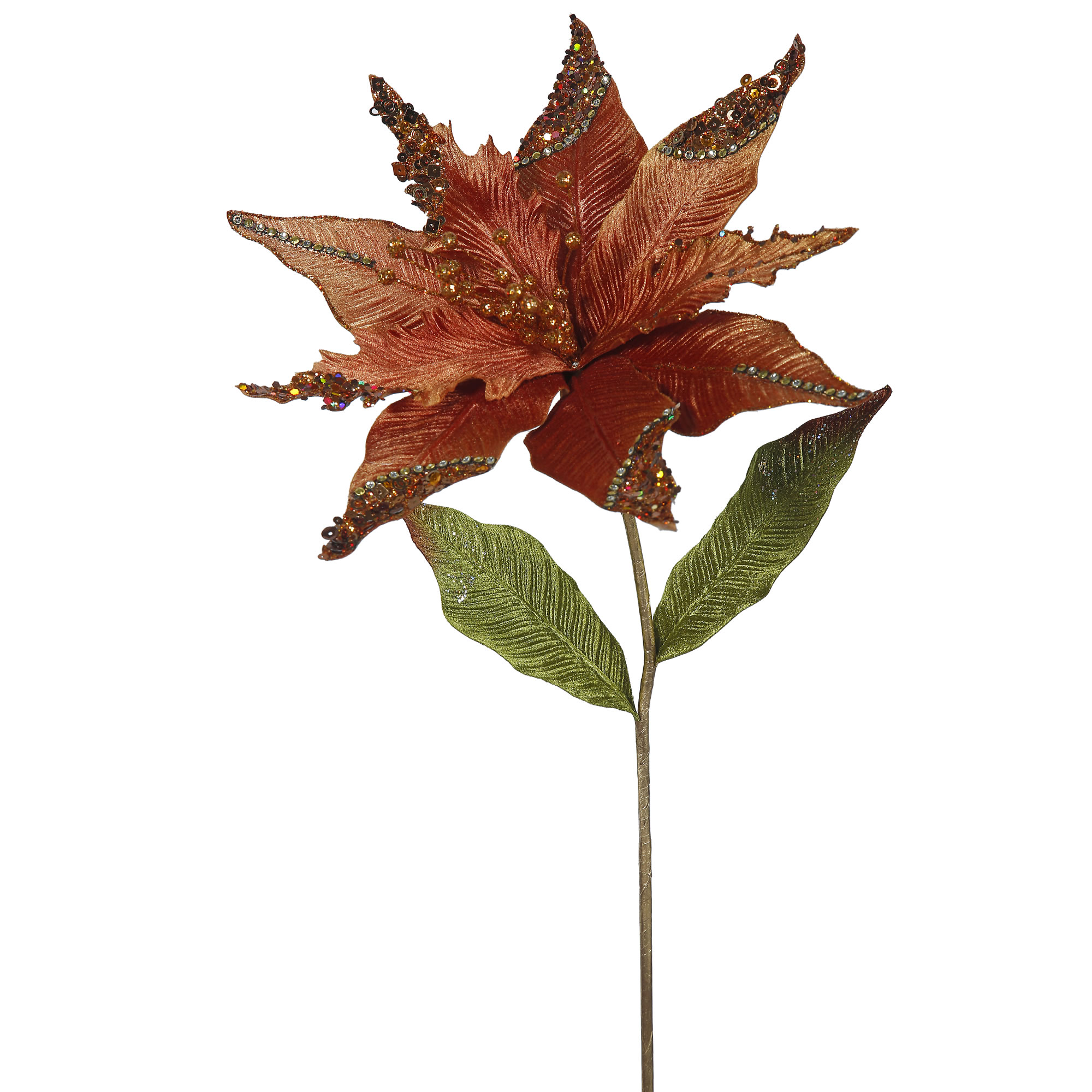 "Vickerman 26"" Copper Poinsettia, 12"" Flower 3/Bag"
