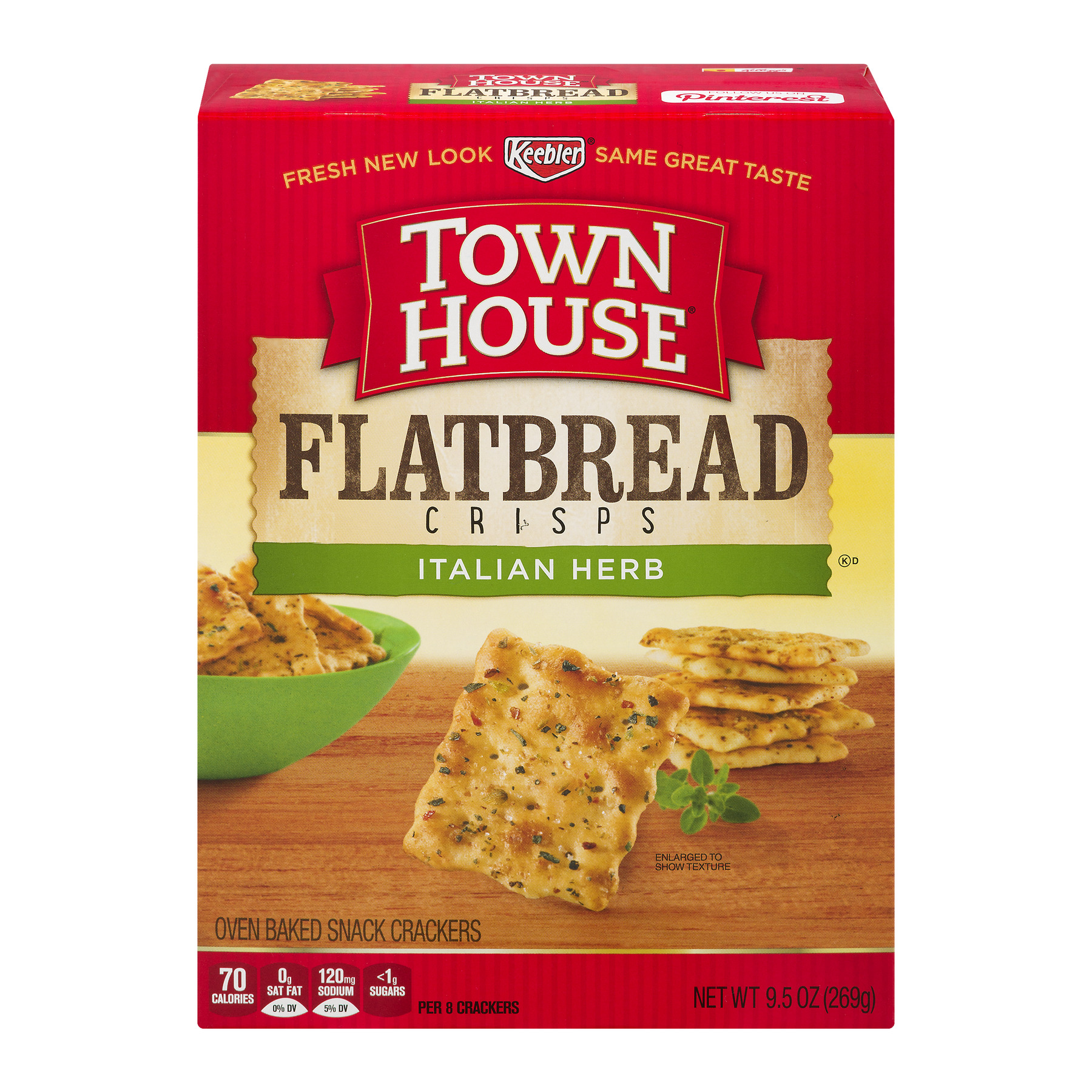 (2 Pack) Keebler® Town House® Flatbread Crisps Italian Herb Crackers 9.5 oz. Box