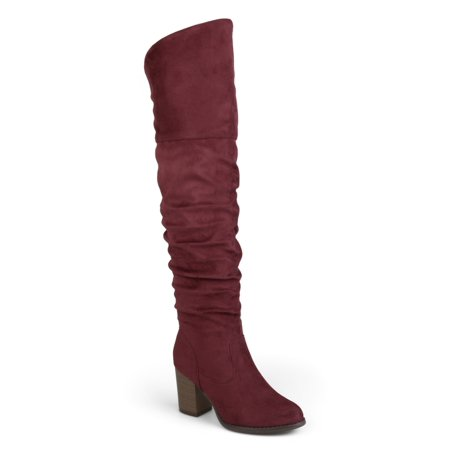 45b5063ea0d Brinley Co. Women s Extra Wide Calf Ruched Stacked Heel Faux Suede  Over-the-knee Boots - Walmart.com
