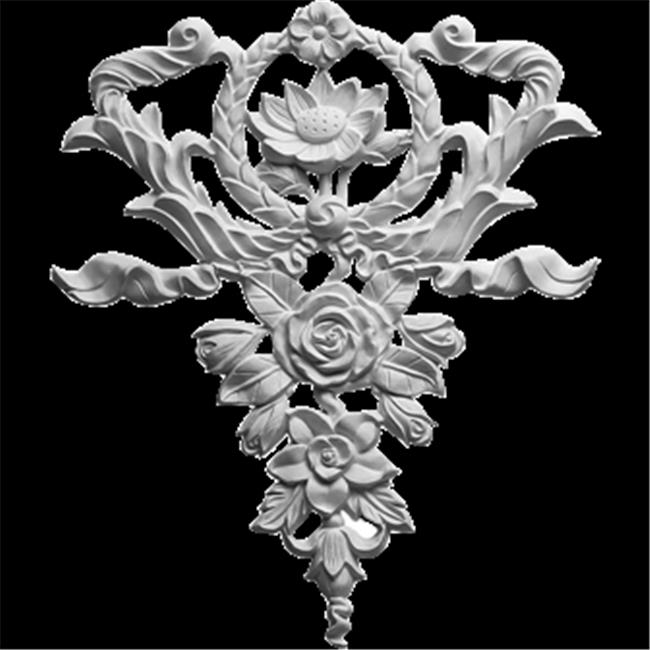 Ekena Millwork ONL10X12X01FL 10.62 In. W X 12.62 In. H X .75 In. P Architectural accent - Large Flower And Wreath Drop Onlay - image 1 of 1
