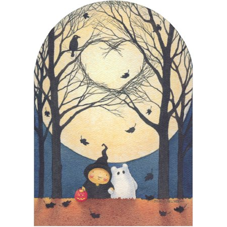 Recycled Paper Greetings Branch Heart and Moon Mary C Melcher Cute Halloween Card