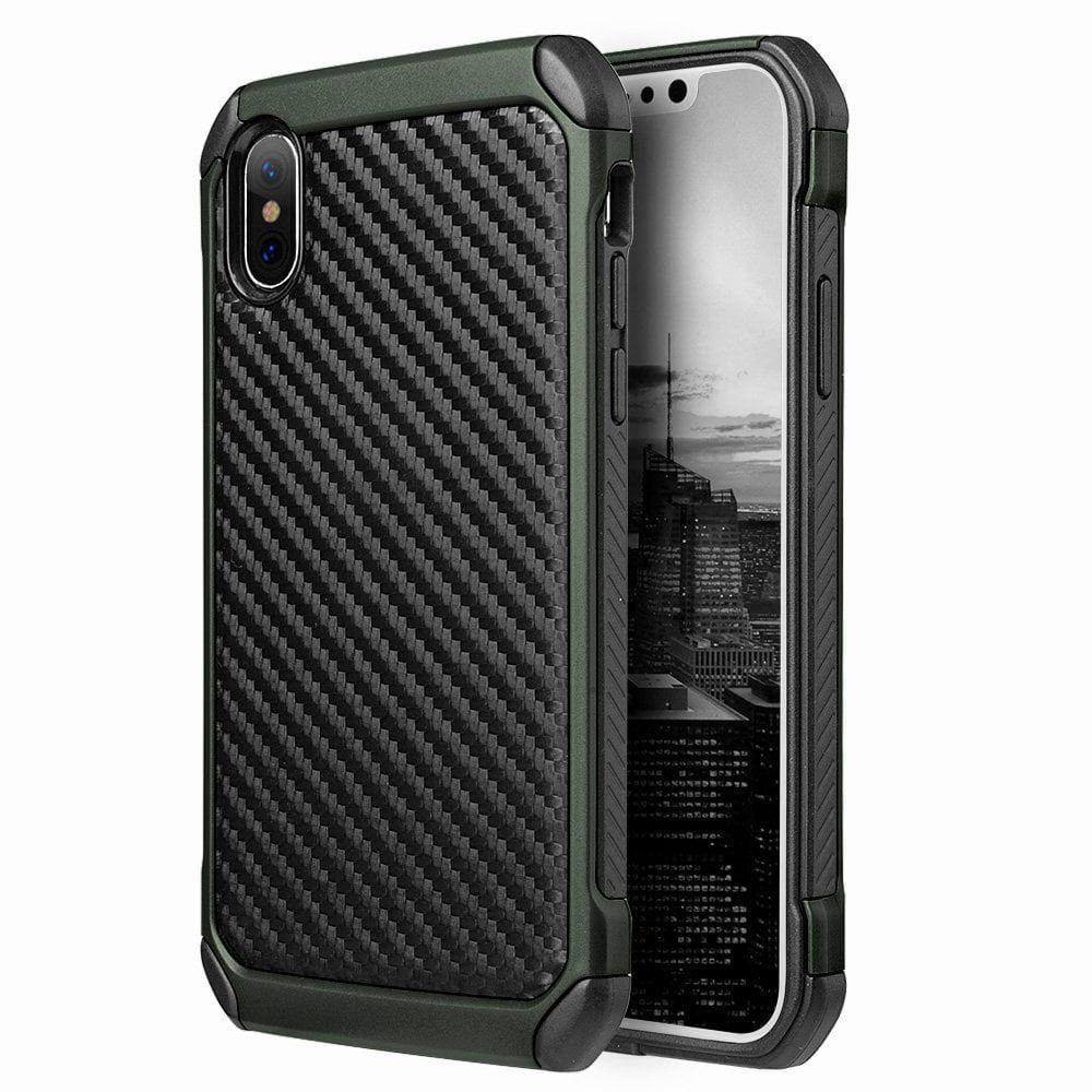iPhone X Case, Premium Hybrid Carbon Fibre Designed Back Case Slim Defender Hard Bumper Cover for iPhone X - Black/ Green,Shockproof, Raised Bezel, Anti Scratch,Lightweighted