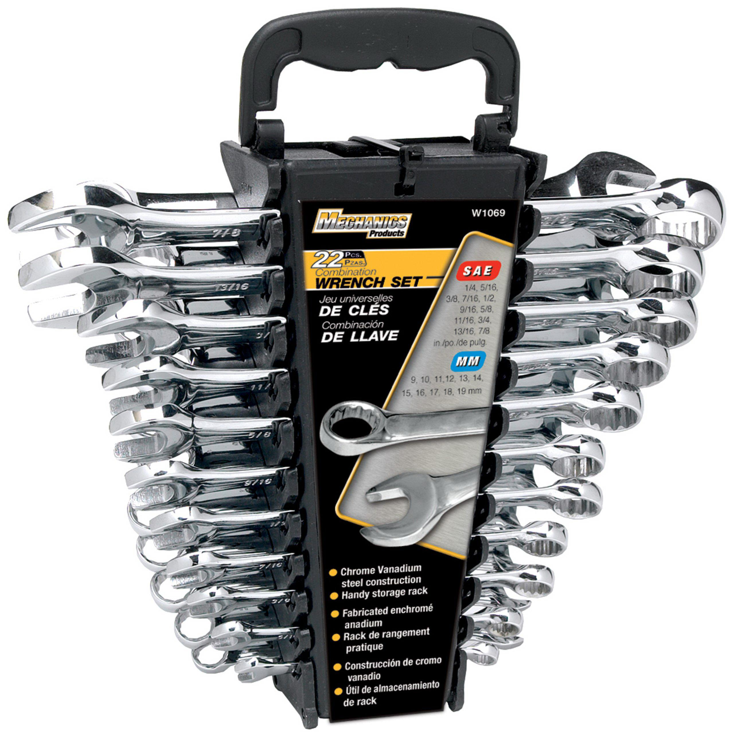 Performance Tool W1069 22pc CR-V Wrench Set w Racks by PERFORM TOOL