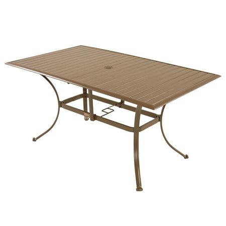 Aluminum Slat Table - Panama Jack  Island Breeze Slatted Aluminum Dining Table with Umbrella Hole
