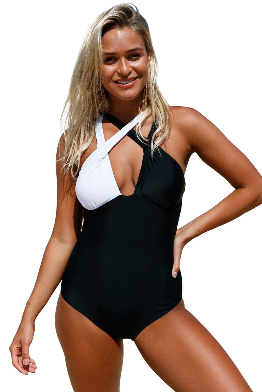 Cali Chic Women's Swimsuit Celebrity Black White Double Cross Strap One Piece Swimsuit (Small,MultiColor)