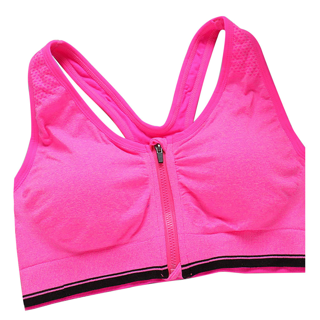 FLORATA Womens Zip Front Sports Bra Wireless Post-Surgery Bra Active Yoga Sports Bras