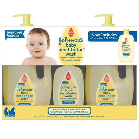 Product of Johnson's Baby Head-to-Toe Wash (2 - 33.8 fl. oz., 1 - 9 fl. oz.) - Baby Skin Care & Grooming [Bulk