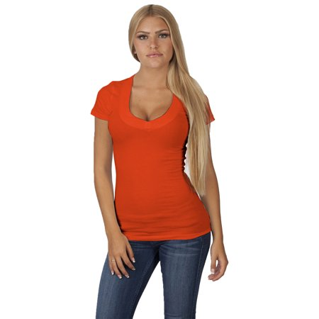 Emmalise Women's Deep V-Neck Short Sleeve T Shirts - Small to - Short Sleeve Deer