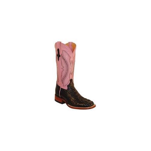 Ferrini 8049304100B Ladies Caiman Square Toe Boots, Black 10B by