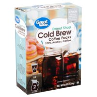 Great Value Donut Shop Cold Brew Coffee Packs, 6 count, 6 oz