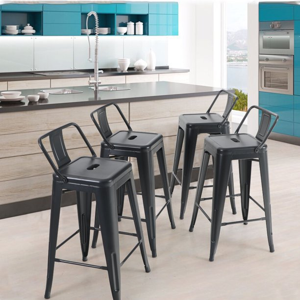 Mf Studio 4pcs 24 Inch Metal Bar Stools, 24 Inch Height Chairs