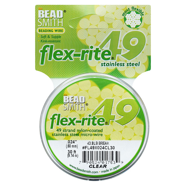 """BeadSmith Flex-Rite Beading Wire, 49 Strand .024"""" Thick, 30 Foot Spool, Clear"""