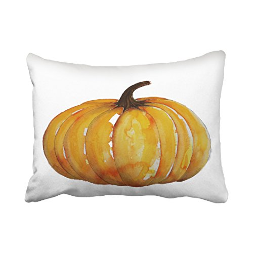 WinHome Decorative Pillowcases Watercolor Pumpkin Throw Pillow Covers Cases Cushion Cover Case Sofa 20x30 Inches Two Side