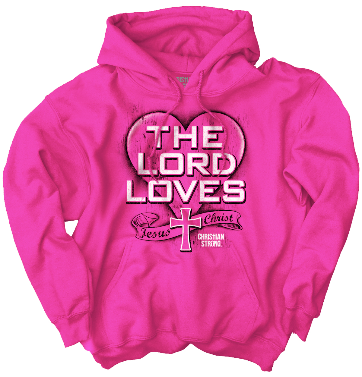 Christian Hooded Sweatshirt The Lord Loves Cross Jesus Christ Faith by Christian Strong