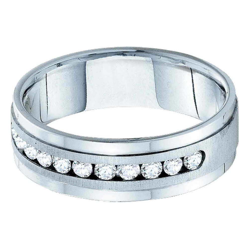 14kt White Gold Mens Round Diamond Wedding Band Ring 1.00 Cttw by Diamond2Deal