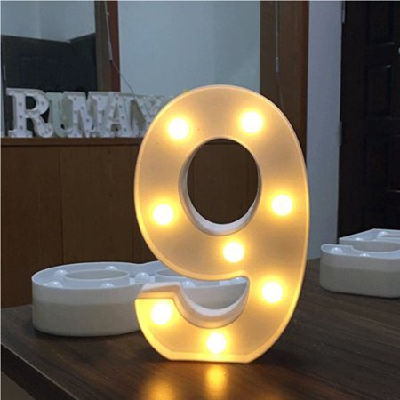 AMZER Decorative LED Illuminated Number Marquee Sign - Marquee Number with Lights For Wedding Birthday Party Christmas Night Light Lamp Home Bar Decoration 9 ()