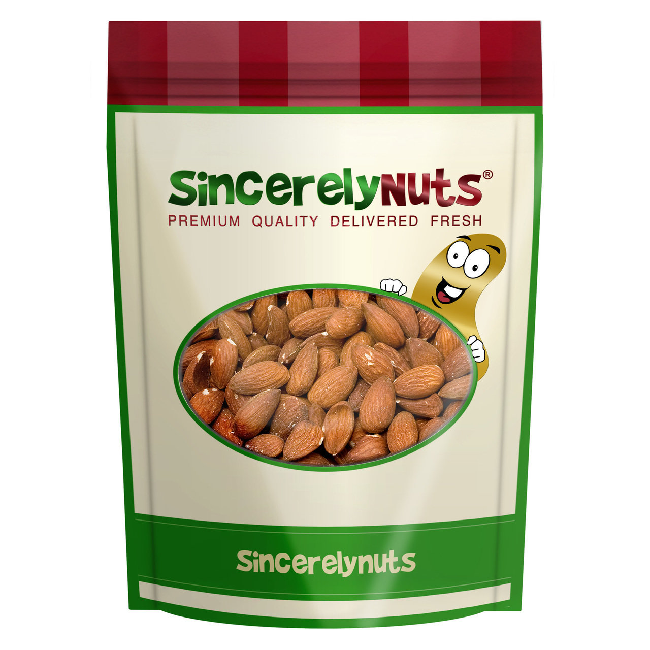 Sincerely Nuts Roasted Unsalted Almonds, 1 LB Bag