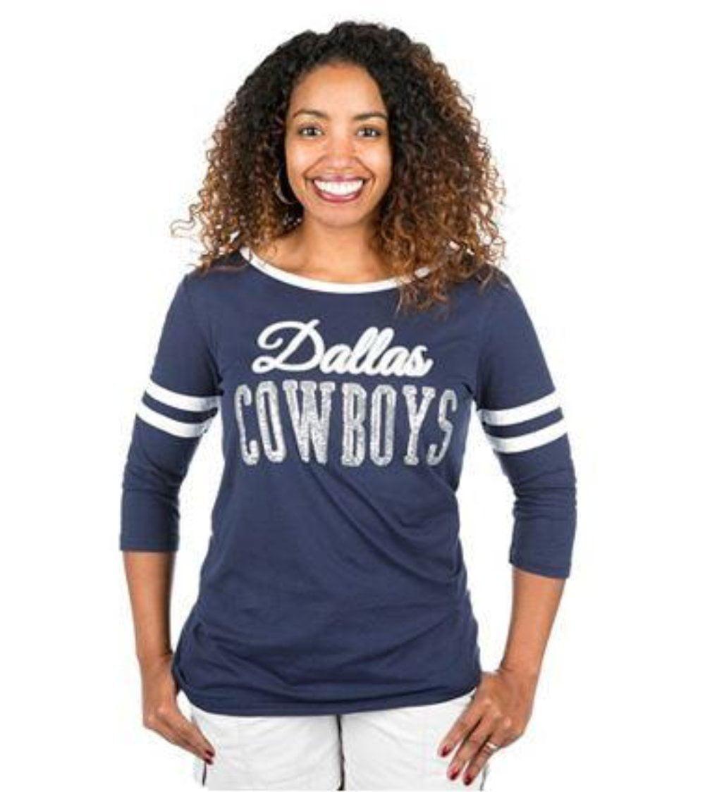 Dallas Cowboys 3 4 Sleeves Edna T-Shirt by Dallas Cowboys Merchandise
