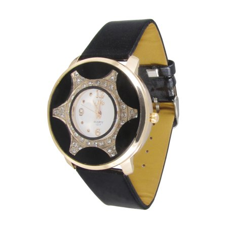 Unique Bargains Women Black Perforated Band Button Adjustable Gold Tone Rim Decor Wristwatch