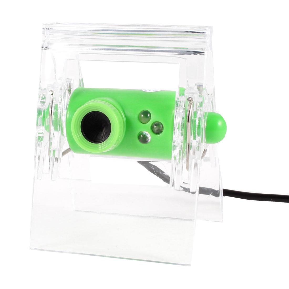 Clip 640x480 0.3 Mega Pixels 3 LED USB2.0 Webcam Green for Laptop Notebook