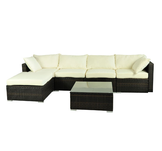 outsunny rattan garden wicker 6 piece sofa sectional patio furniture set - Sofa Sectional