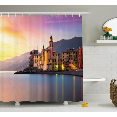 Cityscape Shower Curtain Old Mediterranean Town Camogli Of Italy At Sunrise Colorful Scenic Landscape Fabric Bathroom Set With Hooks Peach Yellow