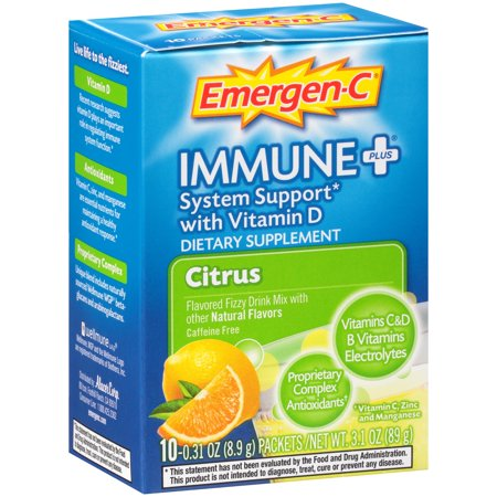 Image of Emergen-C Immune+ (10 Count, Citrus Flavor) Dietary Supplement With Vitamin D Fizzy Drink Mix, 1000mg Vitamin C, 0.31 Ounce Packets