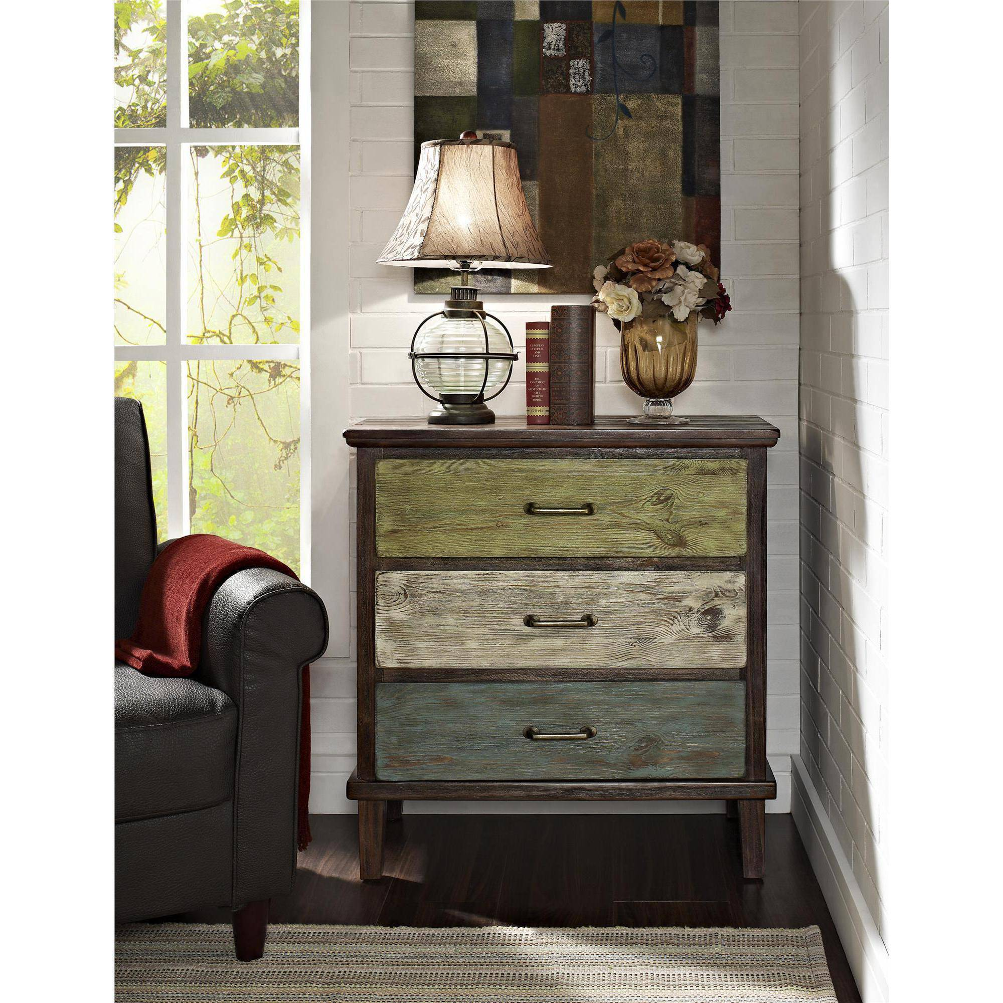 Sage 3-Drawer Storage Table, Rustic Finish