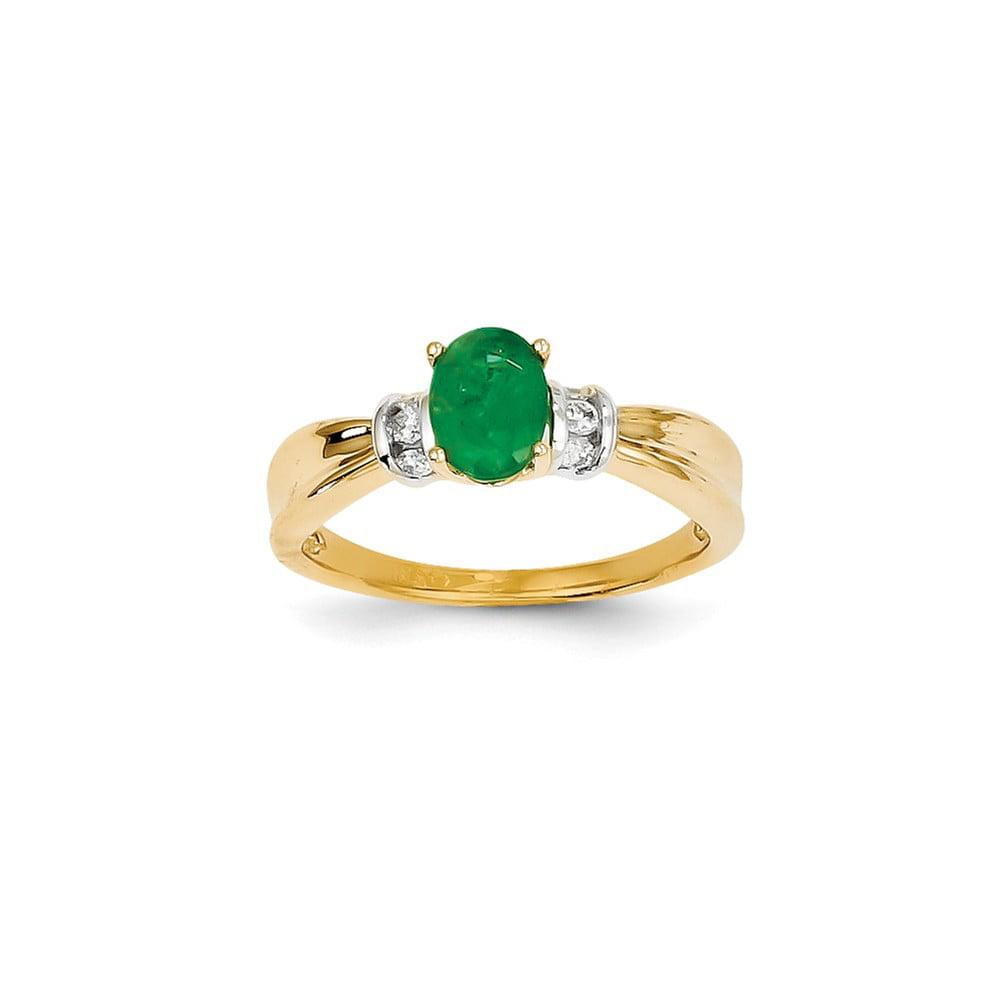 14k Yellow Gold & Rhodium Diamond & Oval Emerald Shaped Gemstone Ring 0.91ct