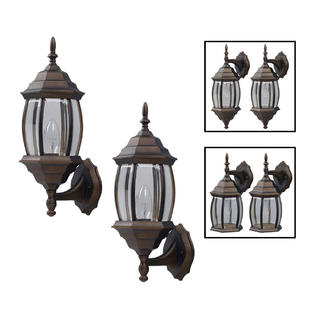 One-Light Outdoor Exterior Lantern Light Fixture Wall Sconce Twin Pack, Oil Rubbed Bronze by