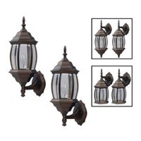 One-Light Outdoor Exterior Lantern Light Fixture Wall Sconce Twin Pack, Oil Rubbed Bronze
