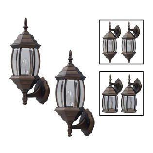 One-Light Outdoor Exterior Lantern Light Fixture Wall Sconce Twin Pack, Oil Rubbed Bronze ()