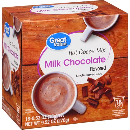 - Great Value Milk Chocolate Hot Cocoa K-Cups, 0.53 oz, 18 count