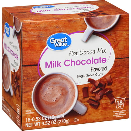 Great Value Milk Chocolate Hot Cocoa K-Cups, 0.53 oz, 18 count