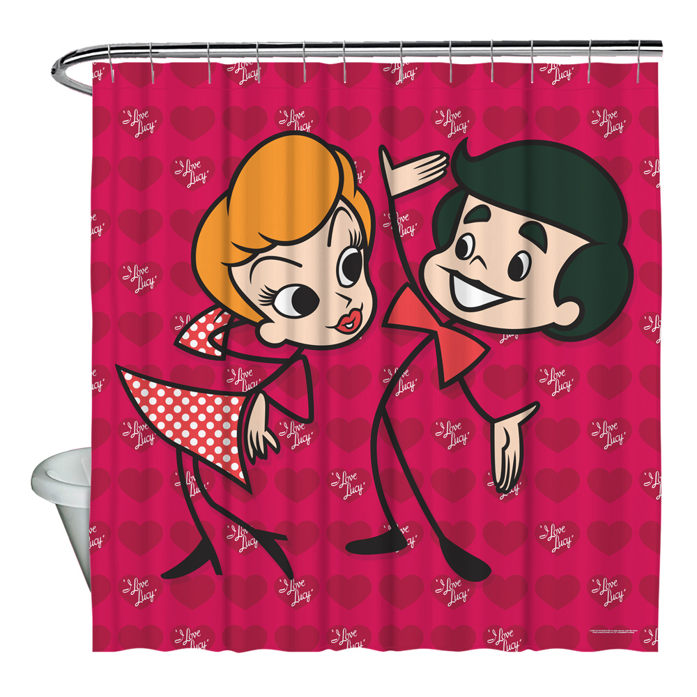 I Love Lucy Ricky and Lucy Shower Curtain White 71X74