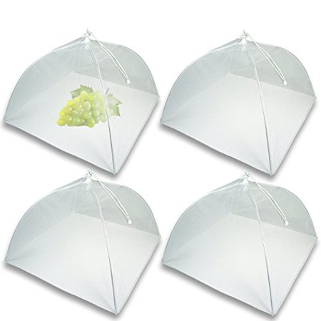 Mesh Screen Food Cover Tents - Set of 4 Large Galvanized Steel Wire Pop-Up Tents, Stylishly and Conveniently Keeps Bugs Away From Food by Chuzy Chef](Picnic Food Covers)