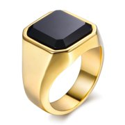 Men's Signet Ring Rock Punk Smooth 316L Stainless Steel Black CZ Silver Gold Color