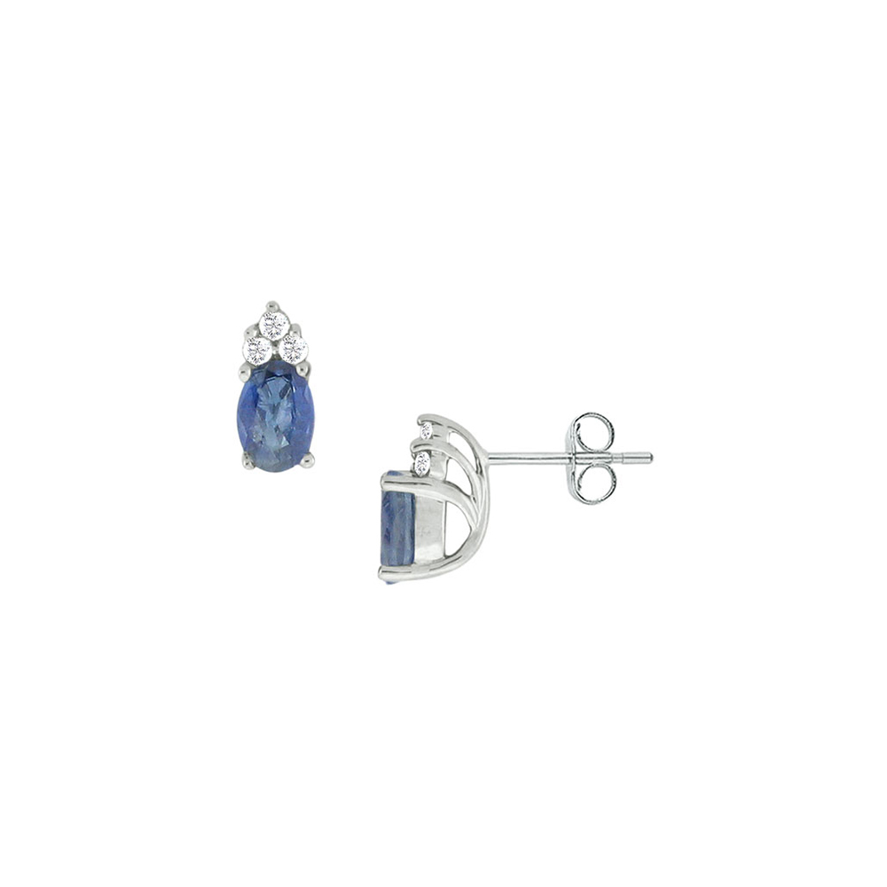 Blue Created Sapphire and Cubic Zirconia Earrings 14K White Gold 1.00 CT TGW - image 2 of 2