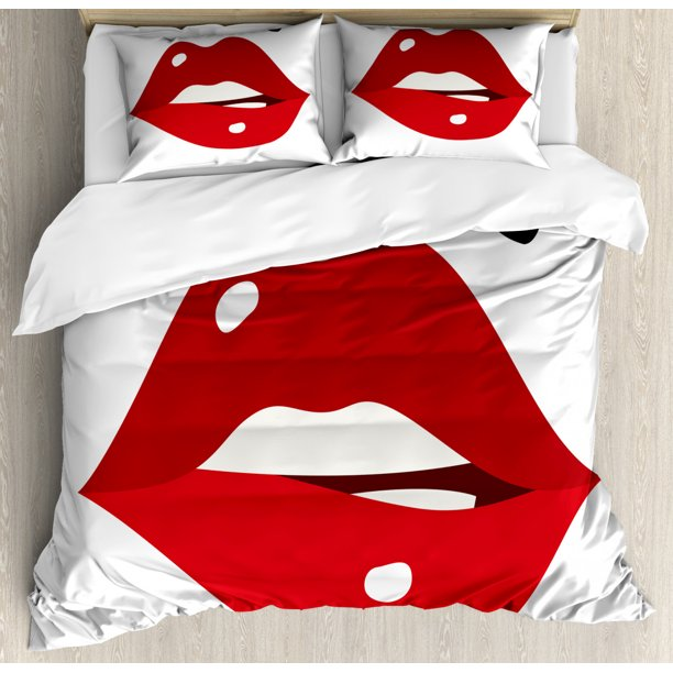 Lips Duvet Cover Set King Size Minimalistic Design Of Sexy Lipstick With Upper Lip Mole Illustration 3 Piece Bedding Set With 2 Pillow Shams Scarlet Ruby Black White By Ambesonne Walmart Com