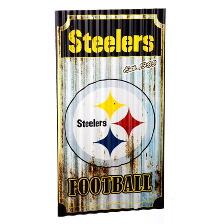 Pittsburgh Steelers Corrugated Metal Wall Art (Saints Steelers Halloween)