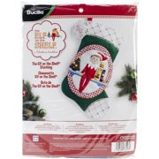 Bucilla 18-Inch Christmas Stocking Felt Applique Kit, 86508 The Elf on The Shelf