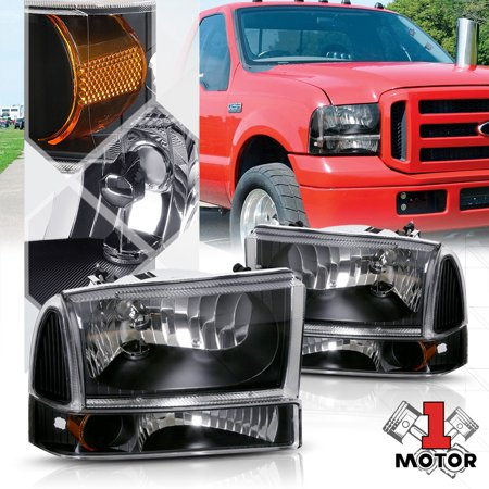 99 F350 Headlights >> Black Housing Headlight Amber Corner Signal For 99 04 Ford F250 F350 Super Duty 00 01 02 03