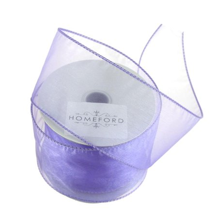 Sheer Organza Wired Edge Ribbon, 2-1/2-Inch, 10 Yards, Lavender ()