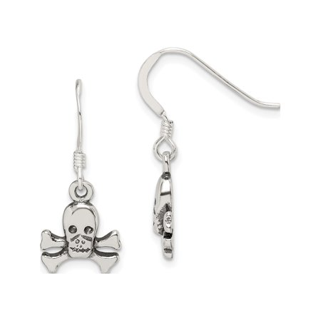 Designer Sterling Silver Skull & Bones Dangle Earrings (Length=27) (Width=11) Made In India -Jewelry By Sweet Pea Creations