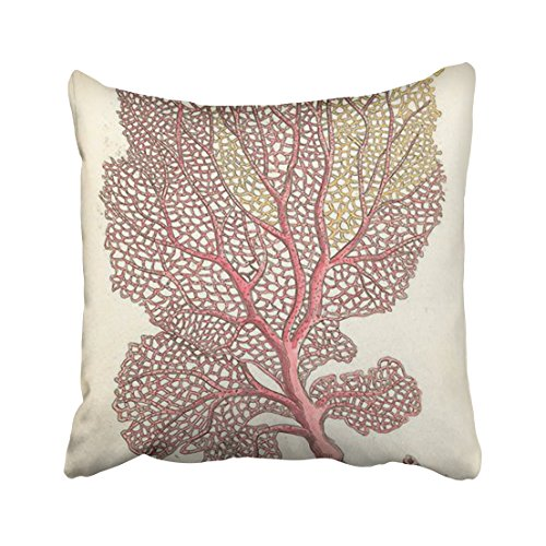Winhome Square Throw Pillow Covers Sea Fan Coral Pink