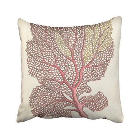 Throw Pillow Cover Pattern With Zipper : WinHome Square Throw Pillow Covers Sea Fan Coral Pink Nautical Simple Pattern Pillowcases ...