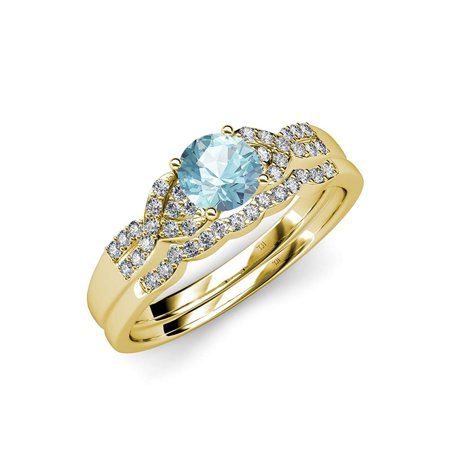 Aquamarine and Diamond Engagement Ring & Wedding Band Set 1.35 ct tw in 14K Yellow Gold.size 4.5