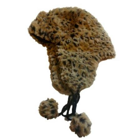 Womens Cheetah Print Faux Fur Trapper Hat Tan Leopard Pom Aviator