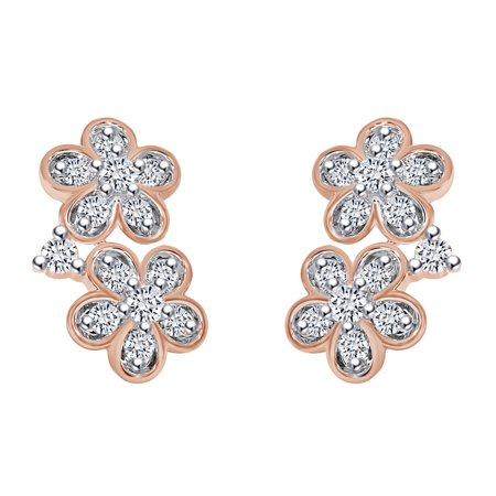 0.14 Carat (cttw) Round Shape White Natural Diamond Flower Stud Earrings 10k Solid Rose Gold